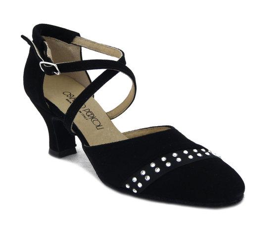 Scarpe da Ballo Donna in Pelle Camoscio Nero e Strass, Tacco Medio Basso 6 cm, Osvaldo Pericoli 475