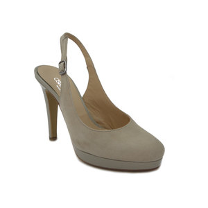 Osvaldo Pericoli sandalo in camoscio beige, tacco 10cm. e plateau 1,5cm., 380 e17