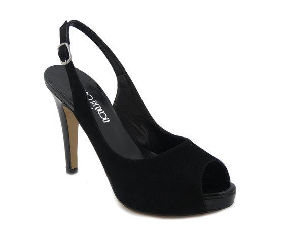Osvaldo Pericoli sandalo in camoscio e pelle lucida nero, tacco 10cm. e plateau 1,5cm., 318100 e17