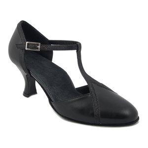 Scarpe da Ballo Donna in Pelle e Glitter Nero, Tacco Medio 7 cm, Osvaldo Pericoli EB130