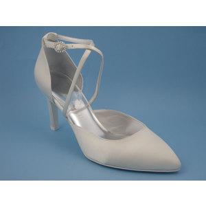 Osvaldo Pericoli SCARPA DA SPOSA, Sandalo in raso seta colora avorio, tacco medio alto 8 cm, 18paola