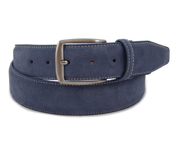 Edoardo Cincotti Cintura uomo in morbida pelle scamosciato blu jeans - N886j