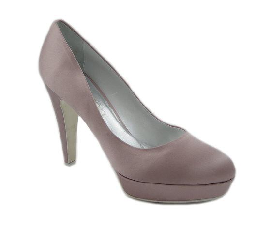 Osvaldo Pericoli, scarpa da Sposa/Cerimonia in raso seta  Glicine, tacco 11cm. e plateau, 185gemma