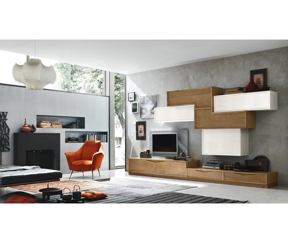 Accademia del mobile parete attrezzata, soggiorno, collezione infinity giorno, composizione 0006