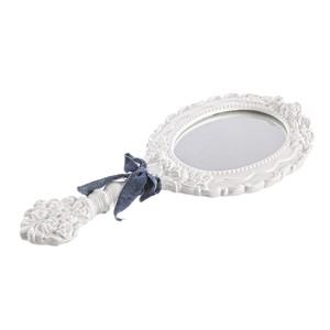 Specchio con manico bianco