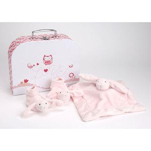 Valigetta rosa con doudou e scarpette