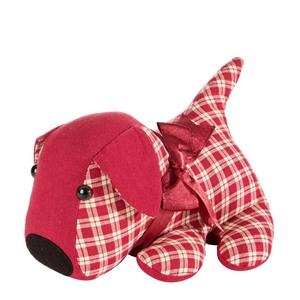 Fermaporta cane quadretto rosso