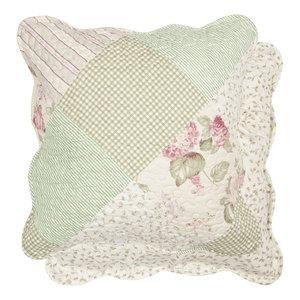 Cuscino floreale verde/rosa c/interno