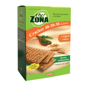 enerzona cracker 40-30-30 al farro - ricetta mediterranea rosmarino 7 minipack 25g cad