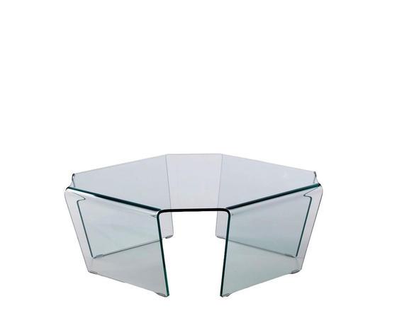 tavolino da salotto in vetro curvato, modello Bridge, di Qriosa Shop