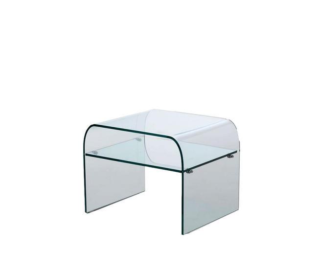comodino in vetro curvato con ripiano, di Qriosa Shop, modello Pisolo