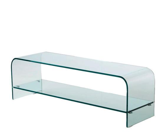 porta TV in vetro curvato, modello Plana, di Qrioa Shop