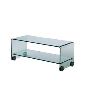 mobile porta tv in vetro curvo con ruote, modello SKY, di Qriosa Shop