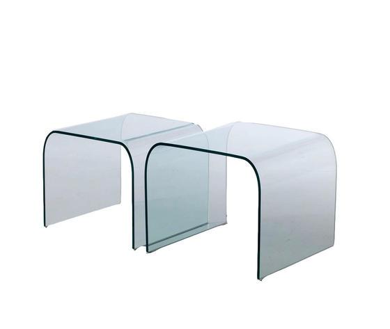 coppia di tavolini in vetro curvato, modello RIALTO, di Qriosa Shop