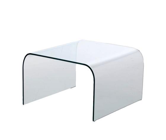 tavolino ponte da salotto in vetro curvo, modello ARCO, di Qriosa Shop