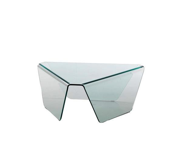 tavolino da salotto basso in vetro curvato, modello TRIS, di Qriosa Shop