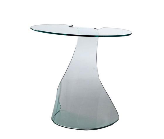 tavolino alto da salotto in vetro curvo, modello LYRA