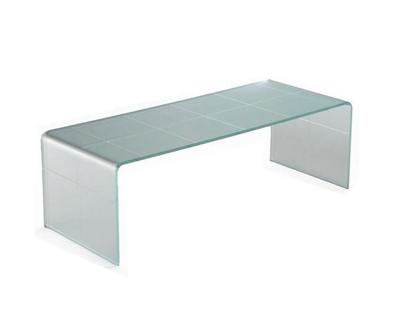 Tavolinetto da salotto in vetro curvo satinato, modello SCACCO MATTO BIANCO