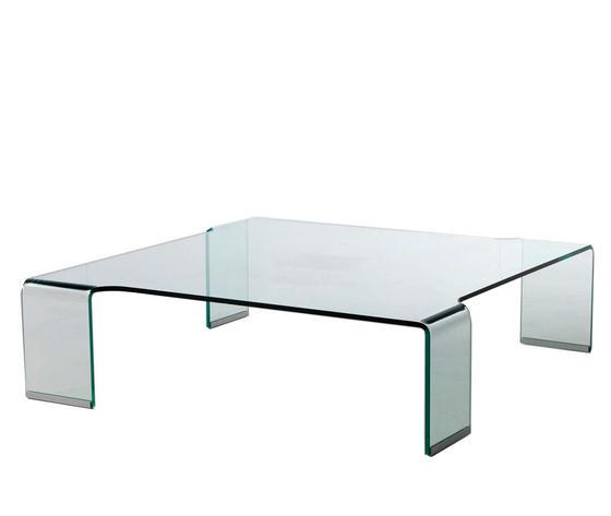 tavolino basso da solotto in vetro curvo, modello Flower, di Qriosa Shop