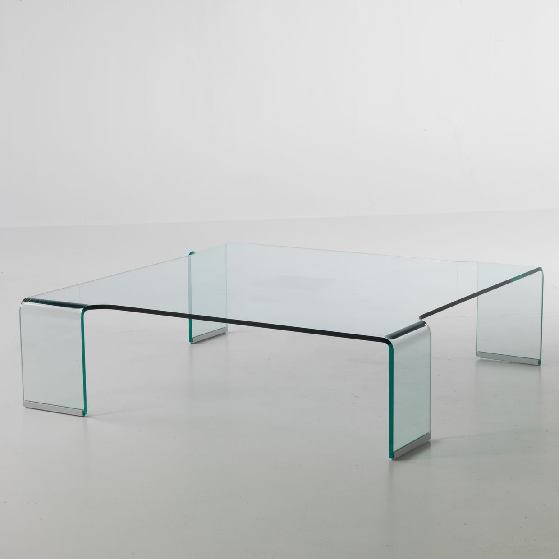 tavolino Flower in vetro curvato