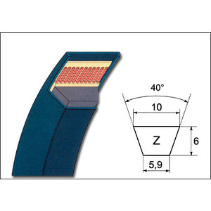 Cinghia di trasmissione Z 16 sviluppo 10 x 410 m/m