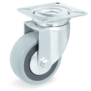 Ruote in gomma Ø 80 supporto rotante piastra