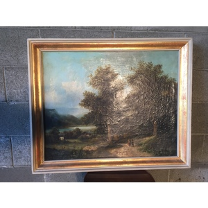 """Elegante Dipinto ad Olio su Tela Raffigurante """"Paesaggio"""""""