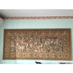 Elegante Arazzo Birmano in Filo di Seta e Paillettes