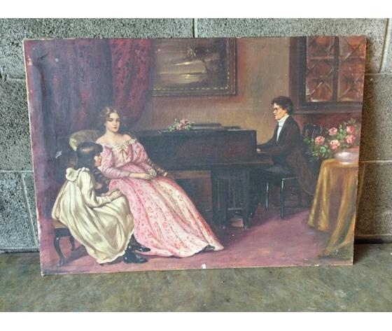 """Dipinto ad Olio """"Donna che Ascolta il Pianista"""""""