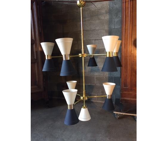 Elegante Lampadario a 19 Luci di Design in Ottone