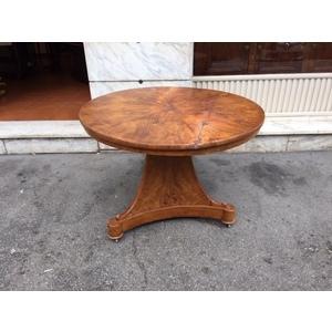 Antico Tavolino Rotondo Impero in Olmo - Restaurato (in corso d'opera)