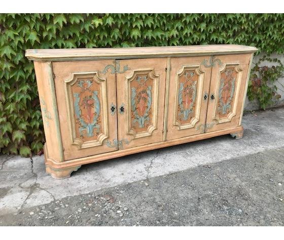 Elegante Credenza Laccata e Dipinta a 4 Ante - Restaurata (in corso d'opera)