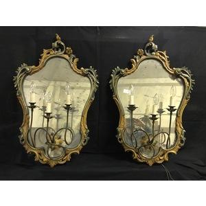 Coppia di Eleganti Applique a Specchiera Laccate - Restaurata (in corso d'opera)