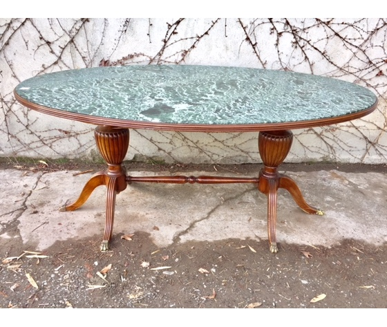 Tavolo Ovale da Riunione con Piano in Marmo - Da Restaurare