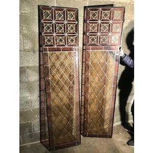 Coppia di Vetrate Cattedrali con Struttura in Ferro