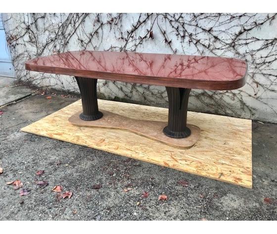 """Importante Tavolo Ovale o da Riunione Art Decò """"Vittorio Dassi"""" - Restaurato (in corso d'opera)"""