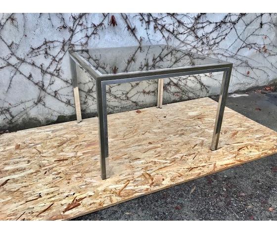 Tavolo Quadrato in Ottone e Acciaio Cromato - Restaurato (in corso d'opera)
