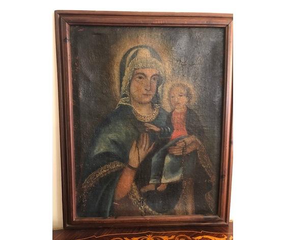"Dipinto ad Olio su Tela ""Madonna con Bambino"""
