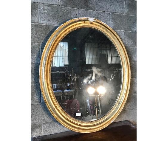 Elegante Specchiera Ovale in Legno e Pastiglia - Restaurata (in corso d'opera)