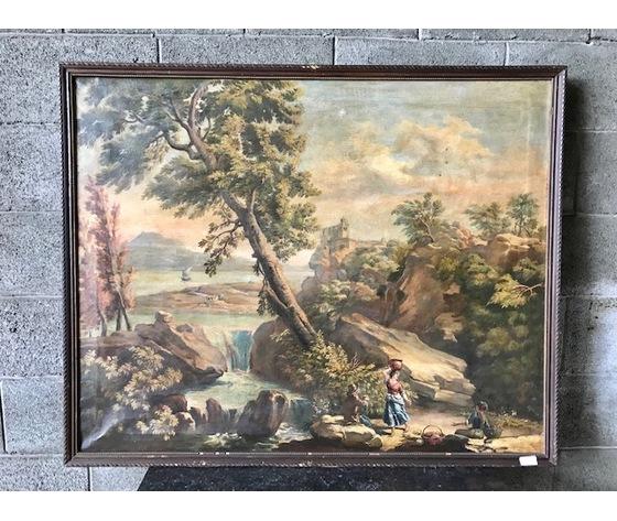 """Dipinto ad Olio su Tela """"Paesaggio con Cascata"""""""