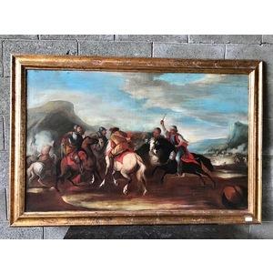 """Dipinto ad Olio su Tavola """"Battaglia a Cavallo"""""""