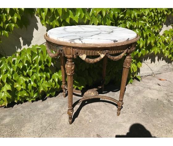 Tavolino Ovale Dorato con Piano in Finto Marmo - Restaurato (in corso d'opera)