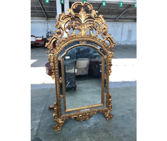 Specchiera Luigi XV in legno scolpito e dorato - Restaurata (in corso d'opera)