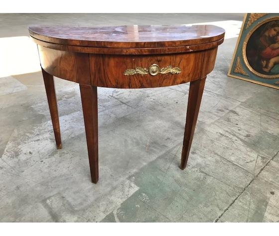 Elegante tavolo a mezzaluna stile Impero in noce - Restaurato (in corso d'opera)