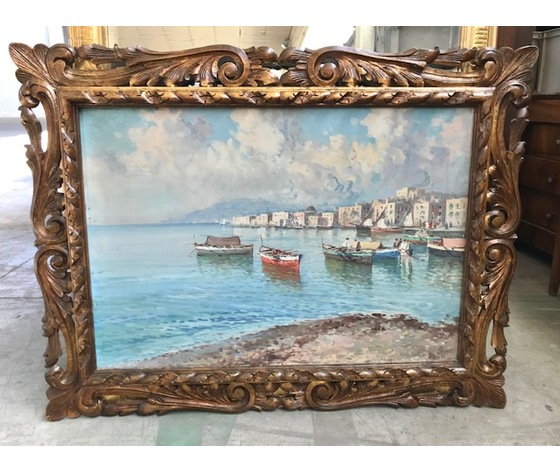 "Dipinto ad olio su tela raffigurante  ""Borgo marino"""