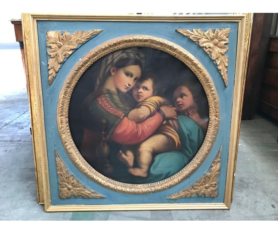Dipinto ad olio su tela raffigurante Madonna col Bambino