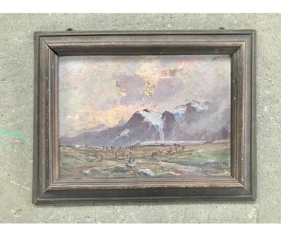 """Dipinto ad  Olio su Tavola """"Leonardo Roda"""" raffigurante paesaggio- Cornice coeva"""
