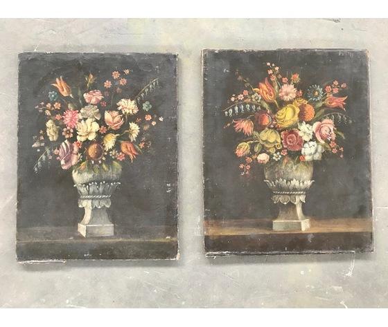 """Coppia di dipinti ad olio su tela raffiguranti """"Natura morta"""" - Epoca '800"""