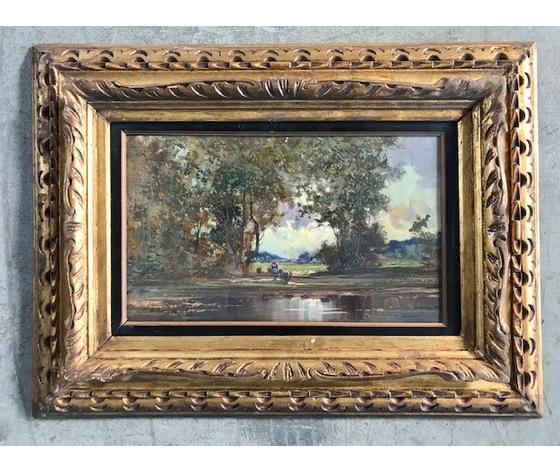 "Dipinto ad Olio su Tavola ""Giuseppe Gheduzzi"", raffigurante ""Paesaggio al lago"""
