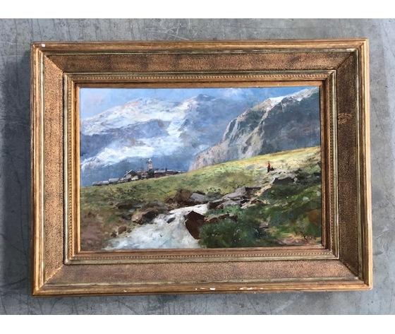 """Dipinto ad Olio su Tela raffigurante """"Paesaggio montano"""" - Condizioni eccellenti"""